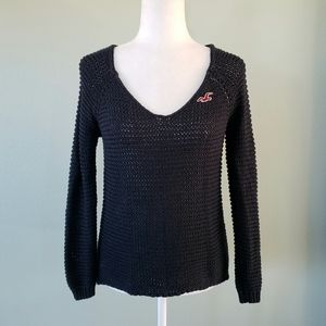 Hollister black open knit long sleeve sweater sz S